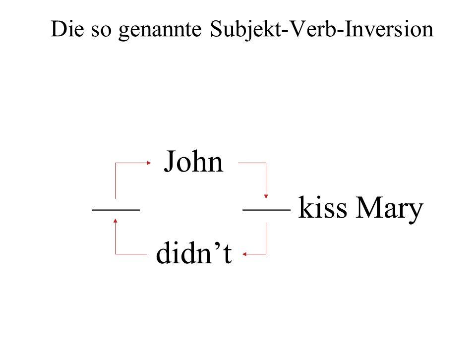 Die so genannte Subjekt-Verb-Inversion John ––– ––– kiss Mary didnt