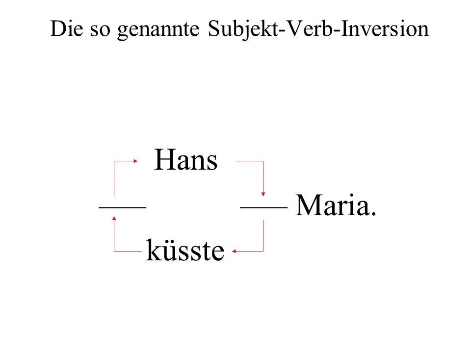 Die so genannte Subjekt-Verb-Inversion Hans ––– ––– Maria. küsste