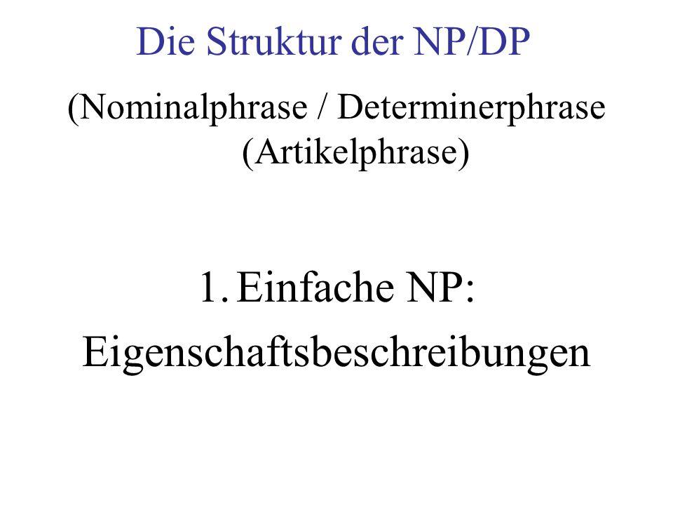 Die Struktur der NP/DP (Nominalphrase / Determinerphrase (Artikelphrase) 1.Einfache NP: Eigenschaftsbeschreibungen