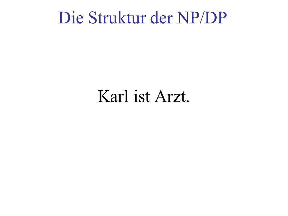 Die Struktur der NP/DP Karl ist Arzt.
