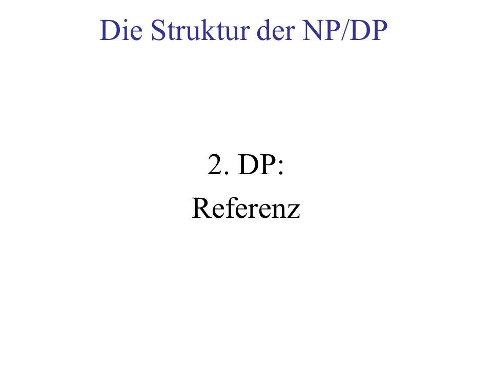 Die Struktur der NP/DP 2. DP: Referenz
