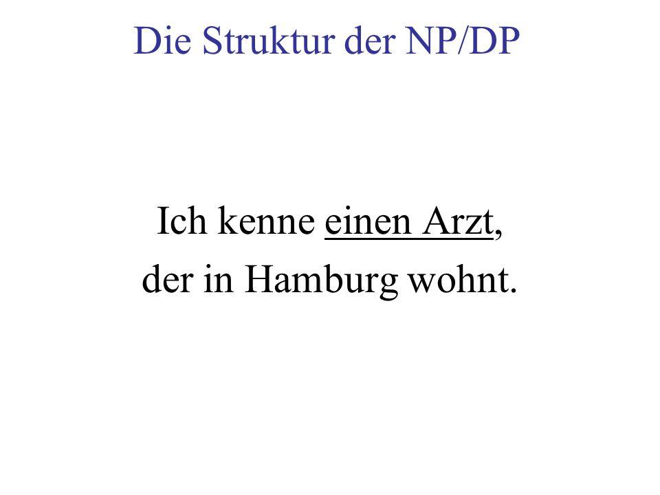 Die Struktur der NP/DP Ich kenne einen Arzt, der in Hamburg wohnt.