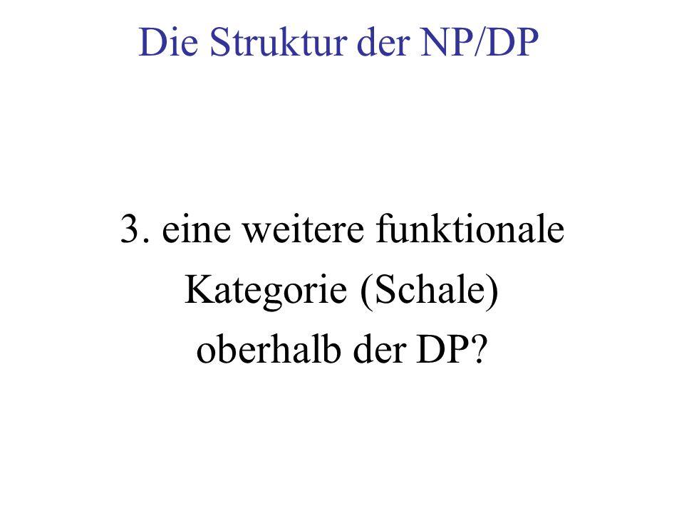 Die Struktur der NP/DP 3. eine weitere funktionale Kategorie (Schale) oberhalb der DP?