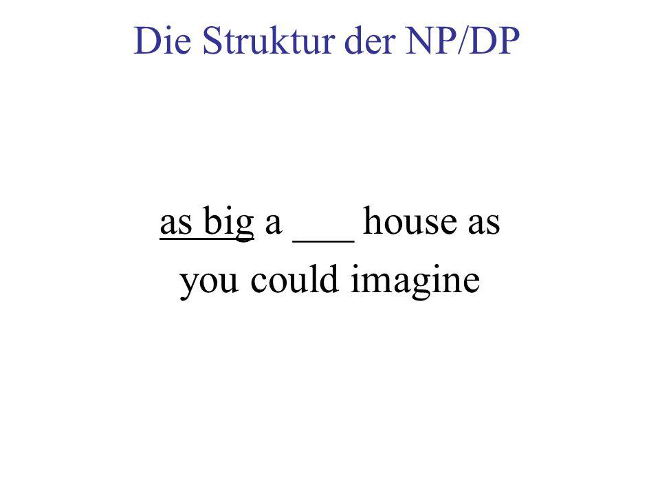 Die Struktur der NP/DP as big a ___ house as you could imagine