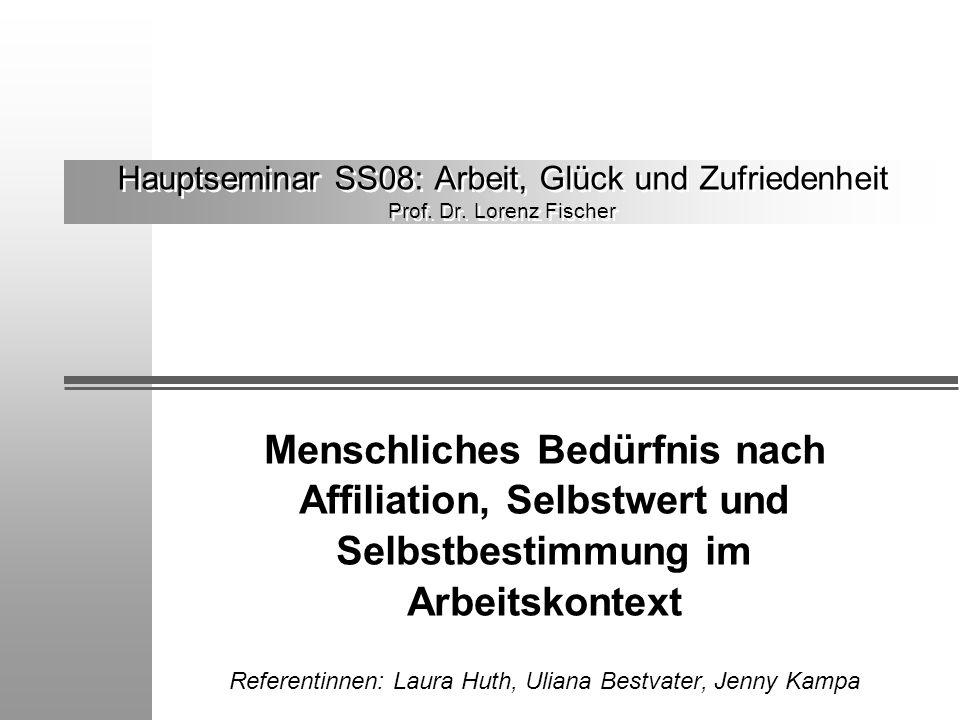 Hauptseminar SS08: Arbeit, Glück und Zufriedenheit Prof. Dr. Lorenz Fischer Menschliches Bedürfnis nach Affiliation, Selbstwert und Selbstbestimmung i