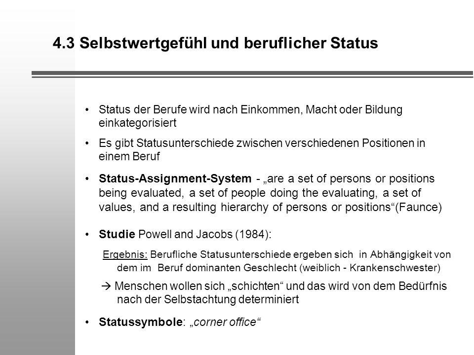 4.3 Selbstwertgefühl und beruflicher Status Status der Berufe wird nach Einkommen, Macht oder Bildung einkategorisiert Es gibt Statusunterschiede zwis