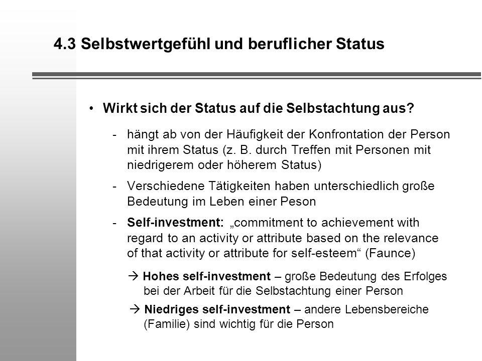 4.3 Selbstwertgefühl und beruflicher Status Wirkt sich der Status auf die Selbstachtung aus? -hängt ab von der Häufigkeit der Konfrontation der Person