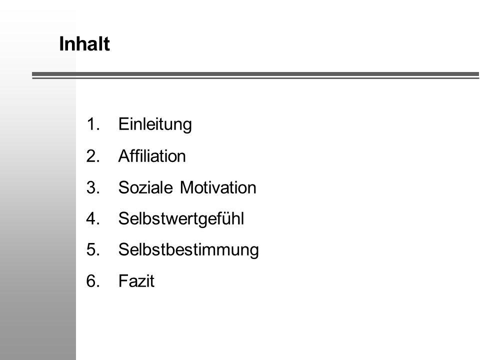 Inhalt 1.Einleitung 2.Affiliation 3.Soziale Motivation 4.Selbstwertgefühl 5.Selbstbestimmung 6.Fazit