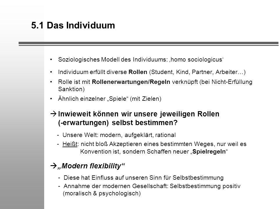 5.1 Das Individuum Soziologisches Modell des Individuums: homo sociologicus Individuum erfüllt diverse Rollen (Student, Kind, Partner, Arbeiter…) Roll