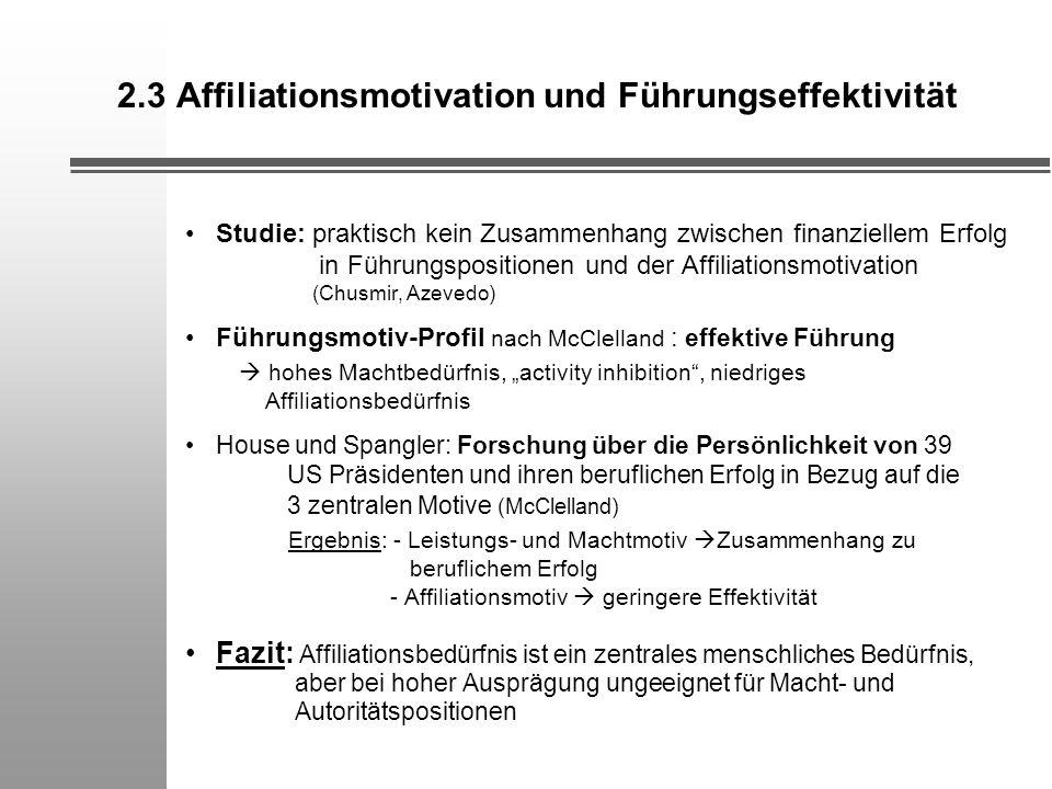 2.3 Affiliationsmotivation und Führungseffektivität Studie: praktisch kein Zusammenhang zwischen finanziellem Erfolg in Führungspositionen und der Aff