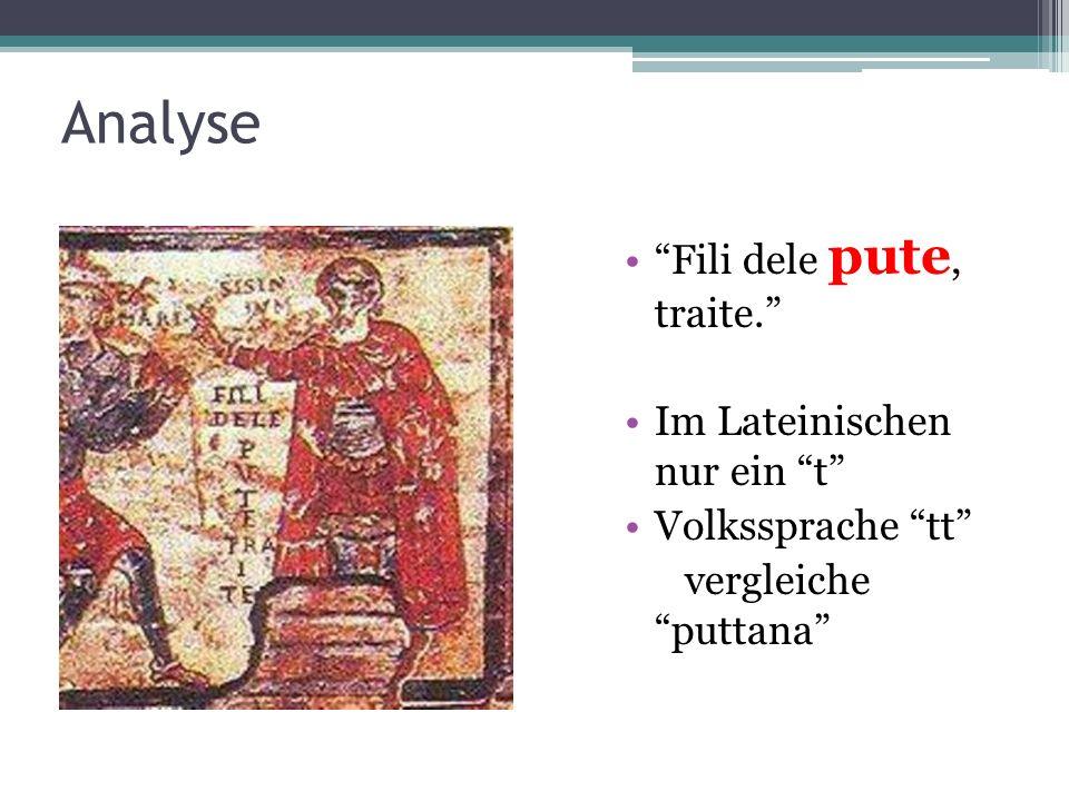 Analyse Fili dele pute, traite. Im Lateinischen nur ein t Volkssprache tt vergleiche puttana