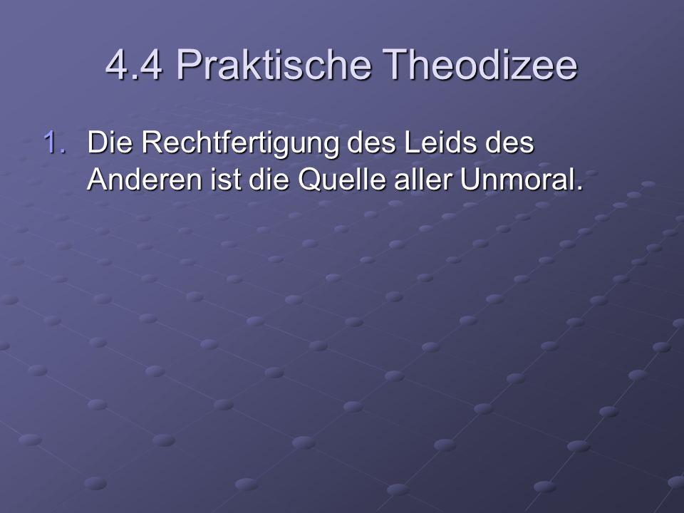 4.4 Praktische Theodizee 1.Die Rechtfertigung des Leids des Anderen ist die Quelle aller Unmoral.