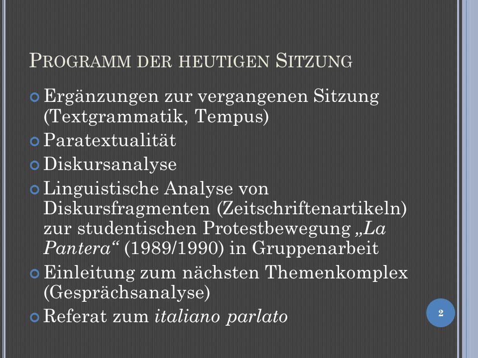 R ELIEFGEBUNG GESTERN UND HEUTE Nachtrag zu H. Weinrich, Tempus 3