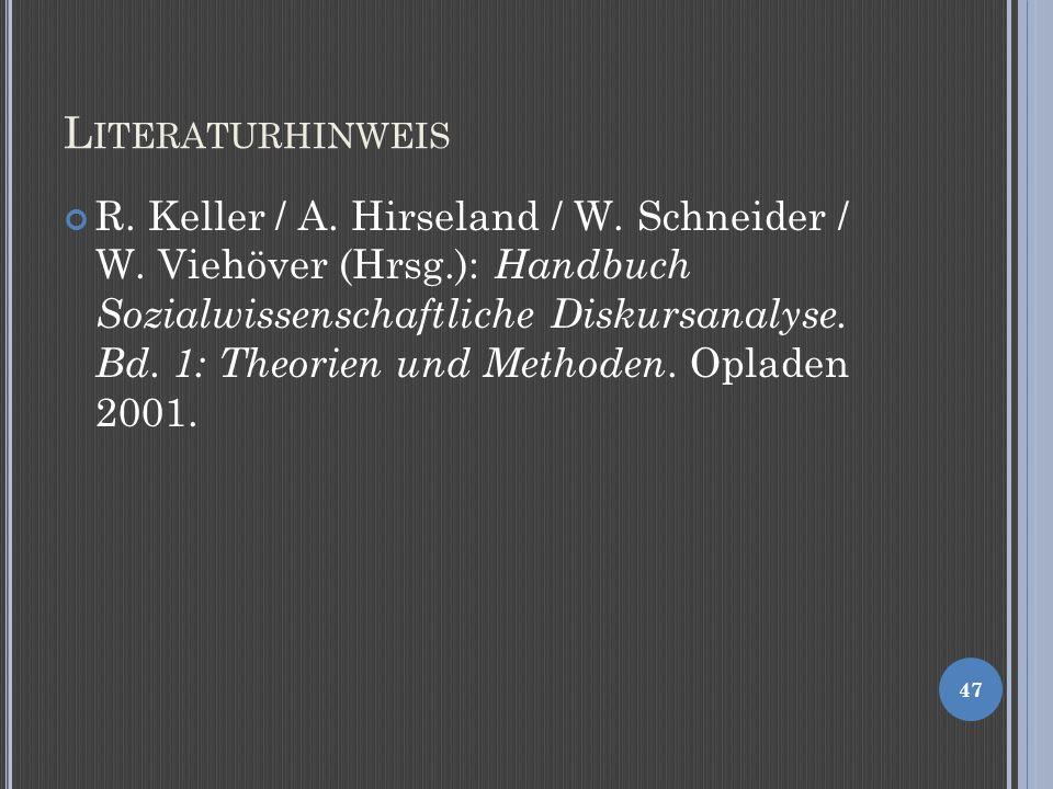 L ITERATURHINWEIS R.Keller / A. Hirseland / W. Schneider / W.