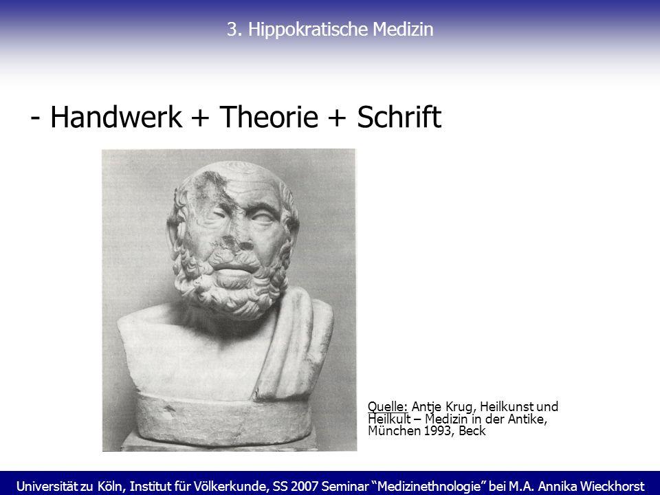Universität zu Köln, Institut für Völkerkunde, SS 2007 Seminar Medizinethnologie bei M.A. Annika Wieckhorst 3. Hippokratische Medizin - Handwerk + The