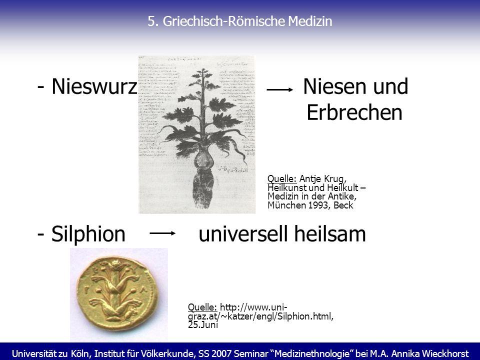 Universität zu Köln, Institut für Völkerkunde, SS 2007 Seminar Medizinethnologie bei M.A. Annika Wieckhorst 5. Griechisch-Römische Medizin - Nieswurz