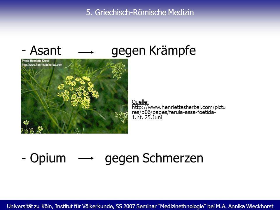 Universität zu Köln, Institut für Völkerkunde, SS 2007 Seminar Medizinethnologie bei M.A. Annika Wieckhorst 5. Griechisch-Römische Medizin - Asant geg