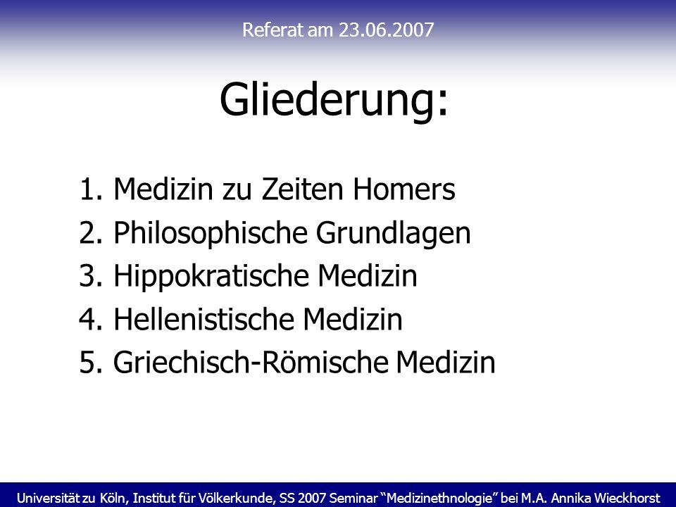 Universität zu Köln, Institut für Völkerkunde, SS 2007 Seminar Medizinethnologie bei M.A. Annika Wieckhorst Referat am 23.06.2007 Gliederung: 1. Mediz