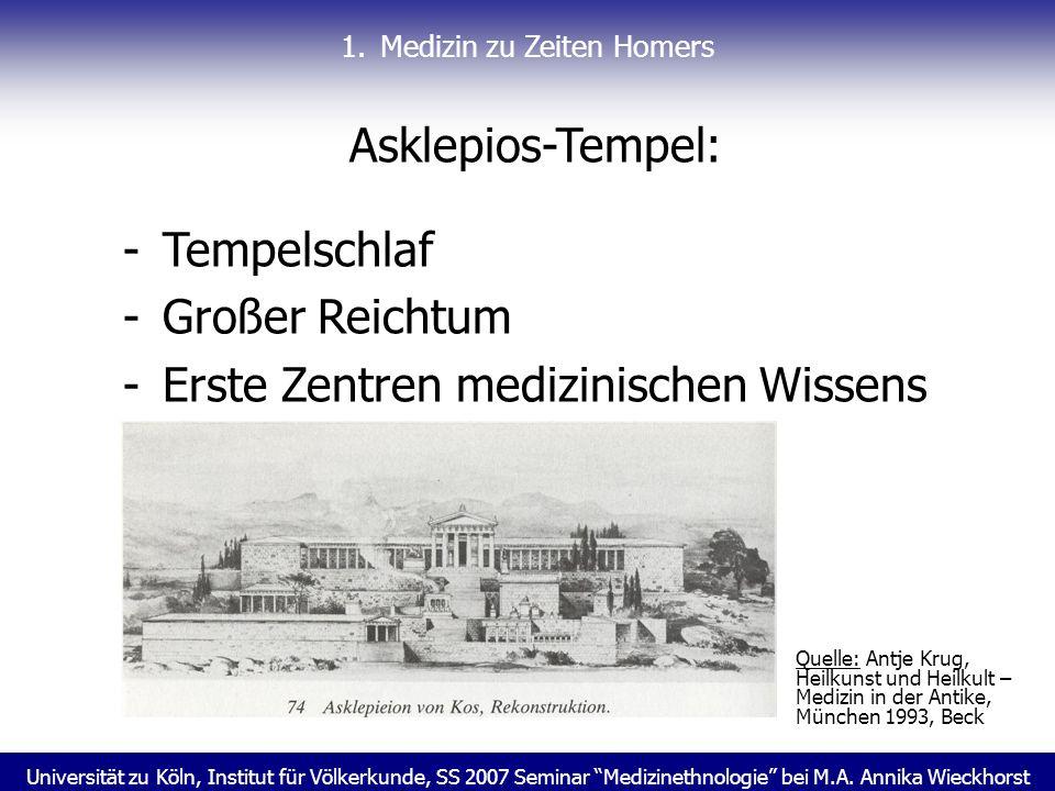 Universität zu Köln, Institut für Völkerkunde, SS 2007 Seminar Medizinethnologie bei M.A. Annika Wieckhorst 1.Medizin zu Zeiten Homers Asklepios-Tempe