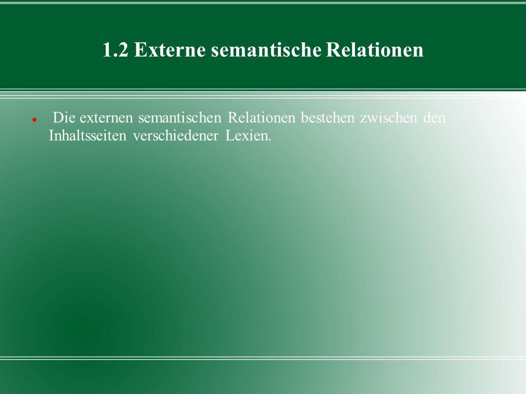 1.2 Externe semantische Relationen Die externen semantischen Relationen bestehen zwischen den Inhaltsseiten verschiedener Lexien.