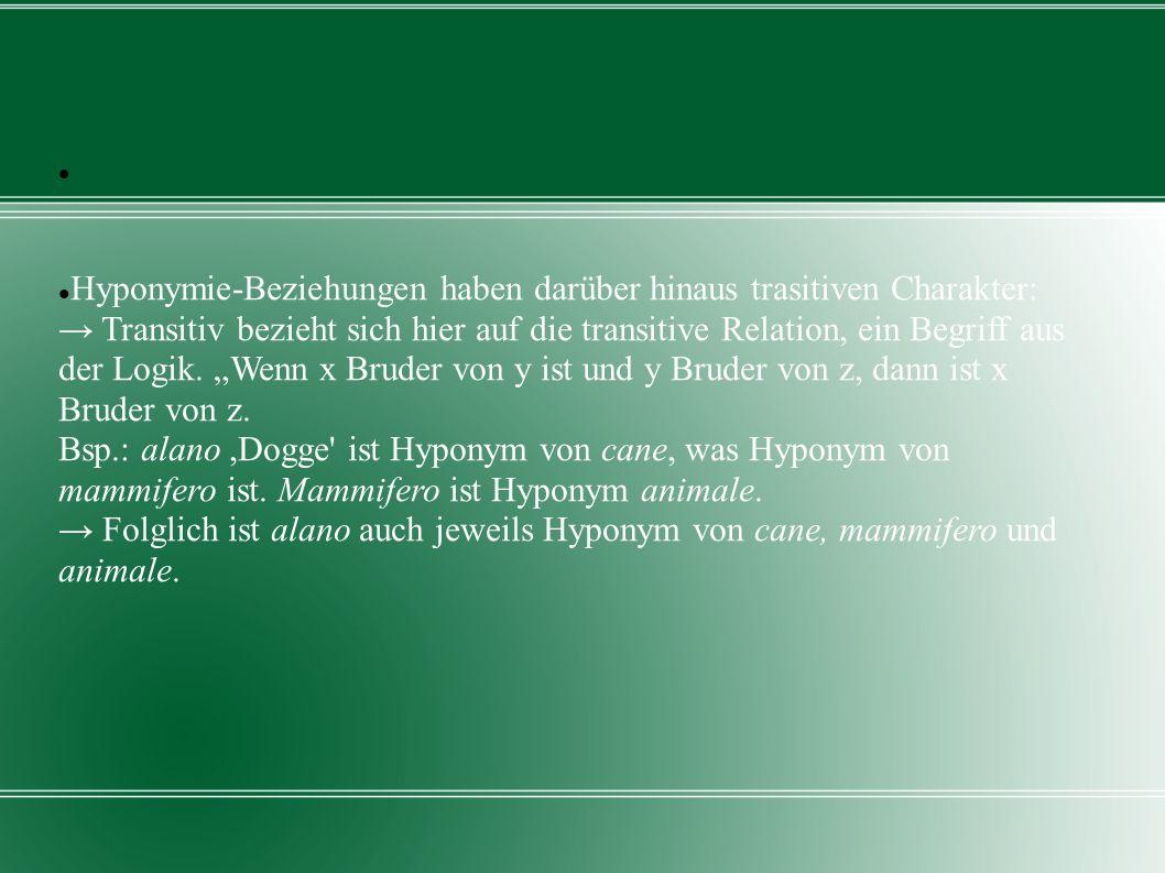Hyponymie-Beziehungen haben darüber hinaus trasitiven Charakter: Transitiv bezieht sich hier auf die transitive Relation, ein Begriff aus der Logik. W