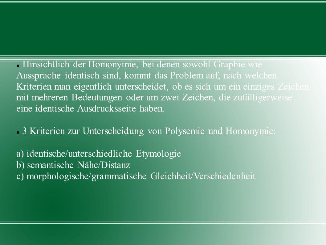 Beispiele: Zu a.unterschiedliche Etymologie: Homonyme Bsp.