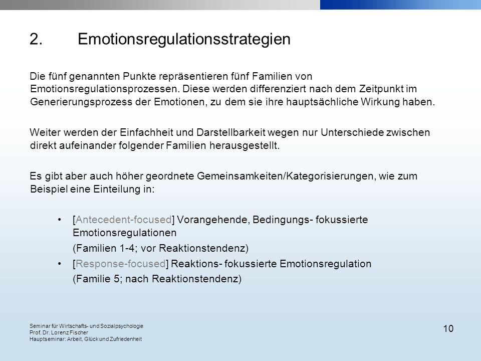 Seminar für Wirtschafts- und Sozialpsychologie Prof. Dr. Lorenz Fischer Hauptseminar: Arbeit, Glück und Zufriedenheit 10 2.Emotionsregulationsstrategi