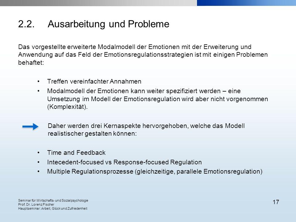 Seminar für Wirtschafts- und Sozialpsychologie Prof. Dr. Lorenz Fischer Hauptseminar: Arbeit, Glück und Zufriedenheit 17 2.2.Ausarbeitung und Probleme