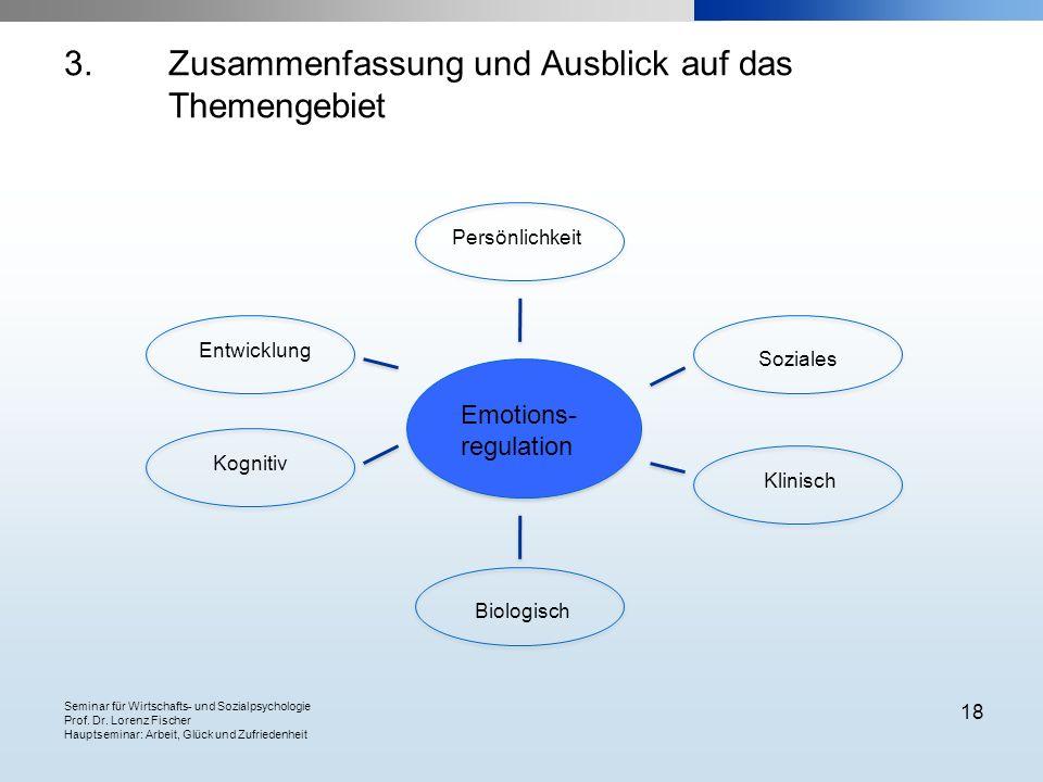 Seminar für Wirtschafts- und Sozialpsychologie Prof. Dr. Lorenz Fischer Hauptseminar: Arbeit, Glück und Zufriedenheit 18 3. Zusammenfassung und Ausbli