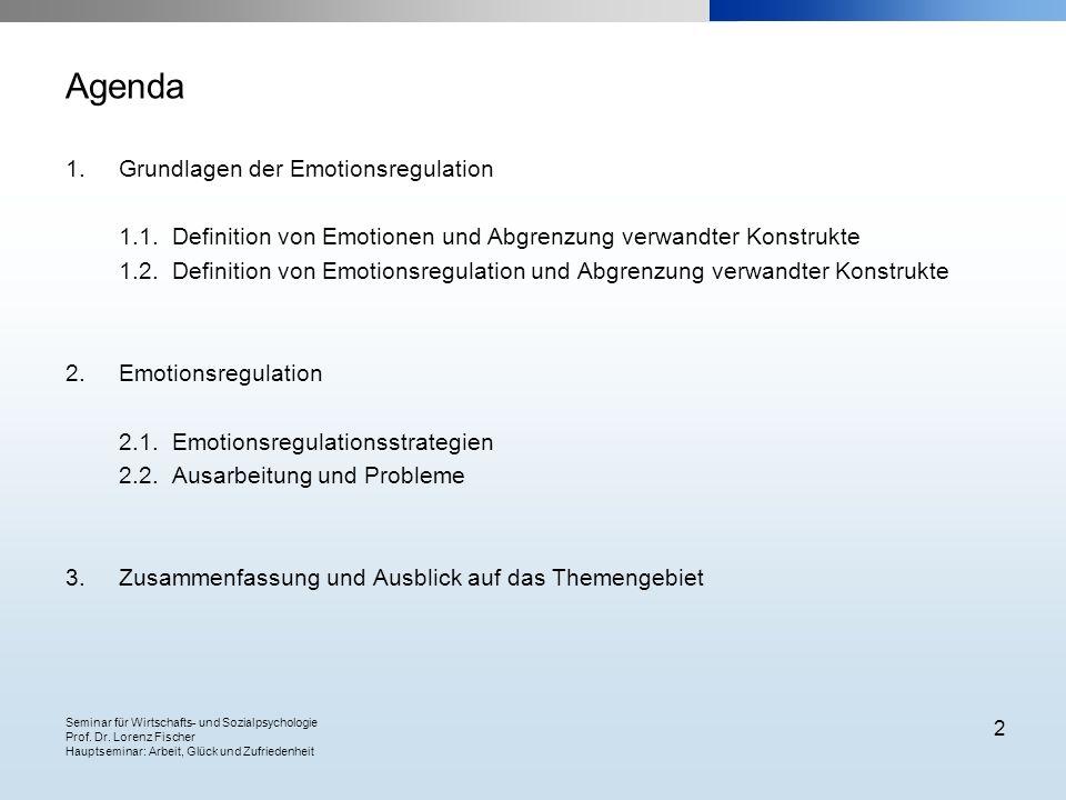 Seminar für Wirtschafts- und Sozialpsychologie Prof. Dr. Lorenz Fischer Hauptseminar: Arbeit, Glück und Zufriedenheit 2 Agenda 1.Grundlagen der Emotio
