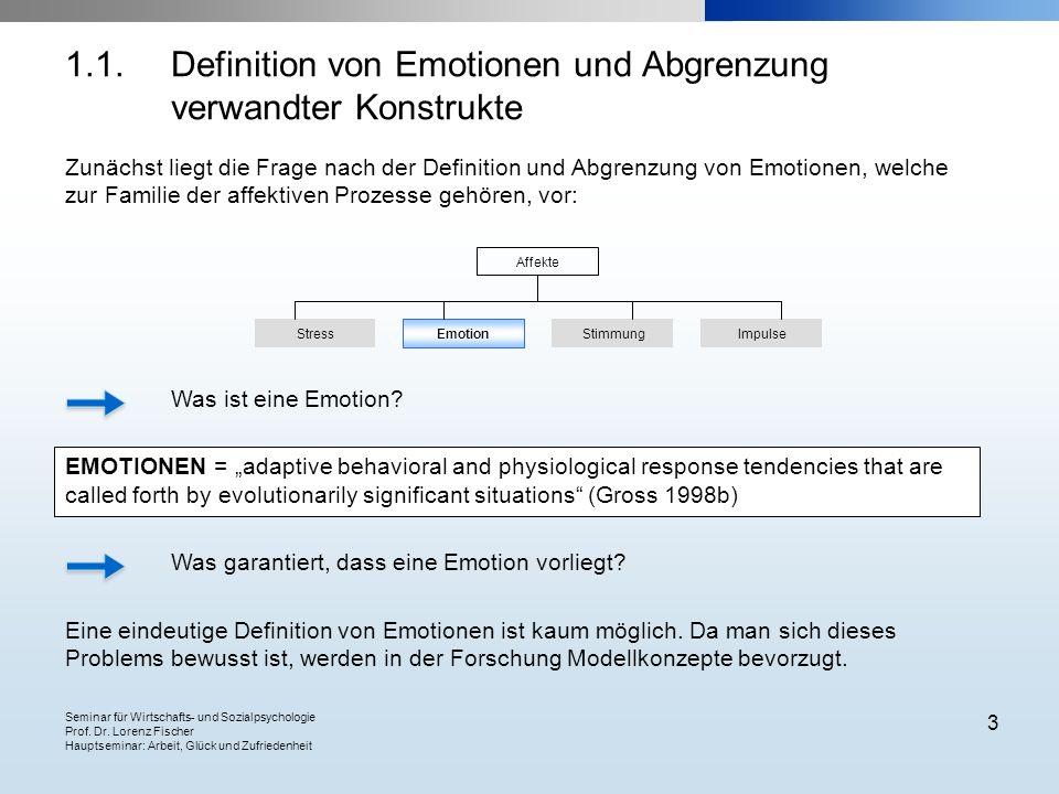 Seminar für Wirtschafts- und Sozialpsychologie Prof. Dr. Lorenz Fischer Hauptseminar: Arbeit, Glück und Zufriedenheit 3 1.1.Definition von Emotionen u