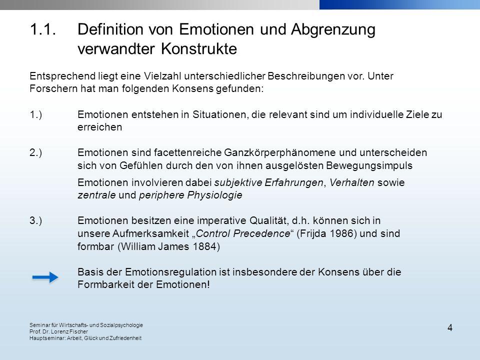 Seminar für Wirtschafts- und Sozialpsychologie Prof. Dr. Lorenz Fischer Hauptseminar: Arbeit, Glück und Zufriedenheit 4 Entsprechend liegt eine Vielza