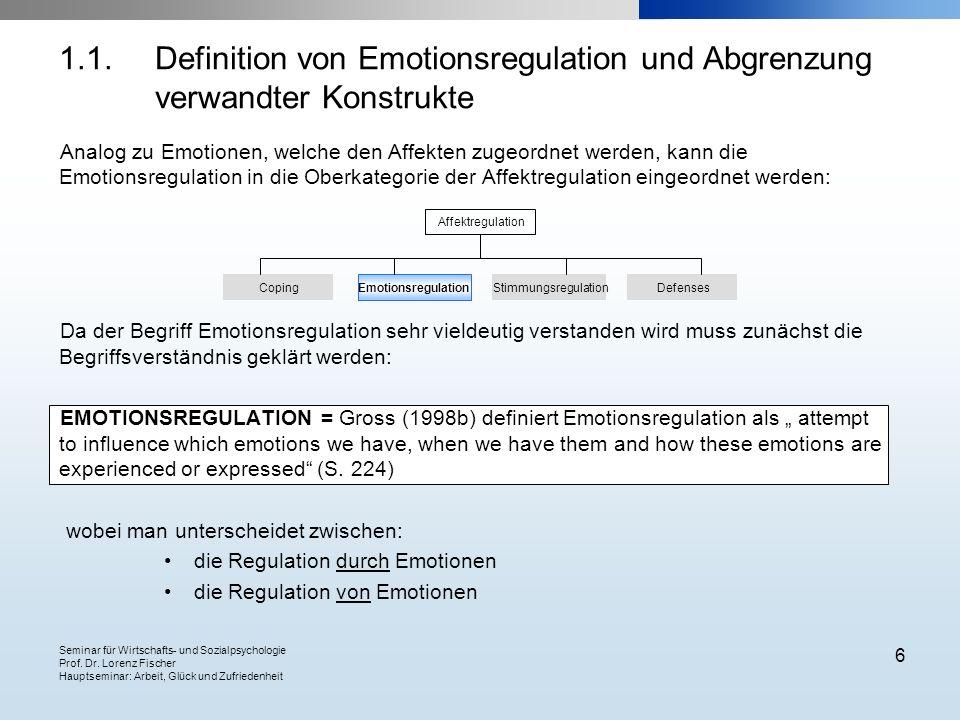 Seminar für Wirtschafts- und Sozialpsychologie Prof. Dr. Lorenz Fischer Hauptseminar: Arbeit, Glück und Zufriedenheit 6 Analog zu Emotionen, welche de