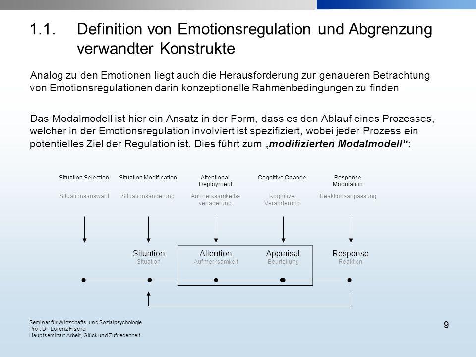 Seminar für Wirtschafts- und Sozialpsychologie Prof. Dr. Lorenz Fischer Hauptseminar: Arbeit, Glück und Zufriedenheit 9 1.1.Definition von Emotionsreg