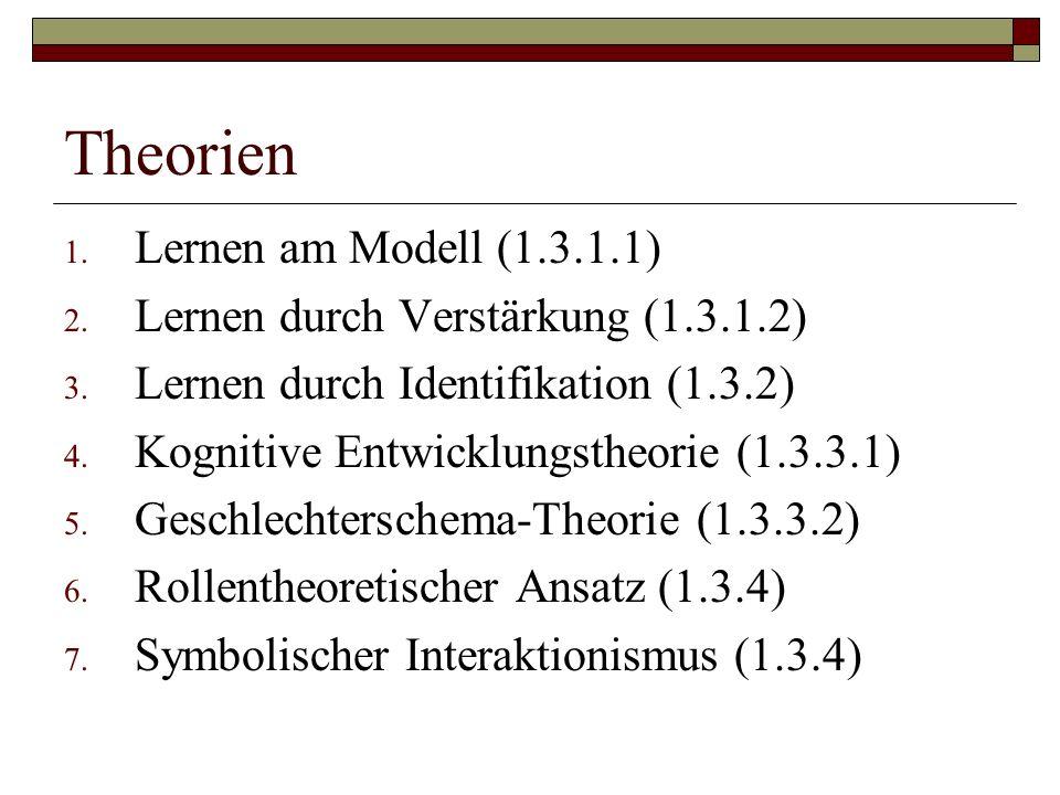 Theorien 1.Lernen am Modell (1.3.1.1) 2. Lernen durch Verstärkung (1.3.1.2) 3.