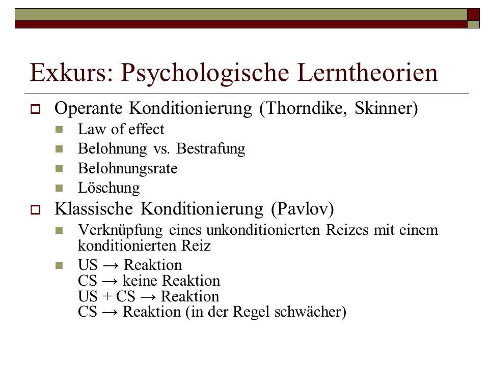 Exkurs: Psychologische Lerntheorien Operante Konditionierung (Thorndike, Skinner) Law of effect Belohnung vs.