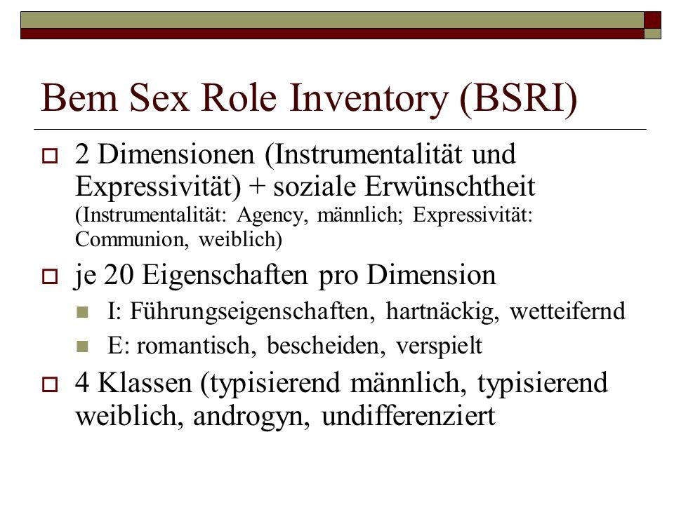 Bem Sex Role Inventory (BSRI) 2 Dimensionen (Instrumentalität und Expressivität) + soziale Erwünschtheit (Instrumentalität: Agency, männlich; Expressivität: Communion, weiblich) je 20 Eigenschaften pro Dimension I: Führungseigenschaften, hartnäckig, wetteifernd E: romantisch, bescheiden, verspielt 4 Klassen (typisierend männlich, typisierend weiblich, androgyn, undifferenziert