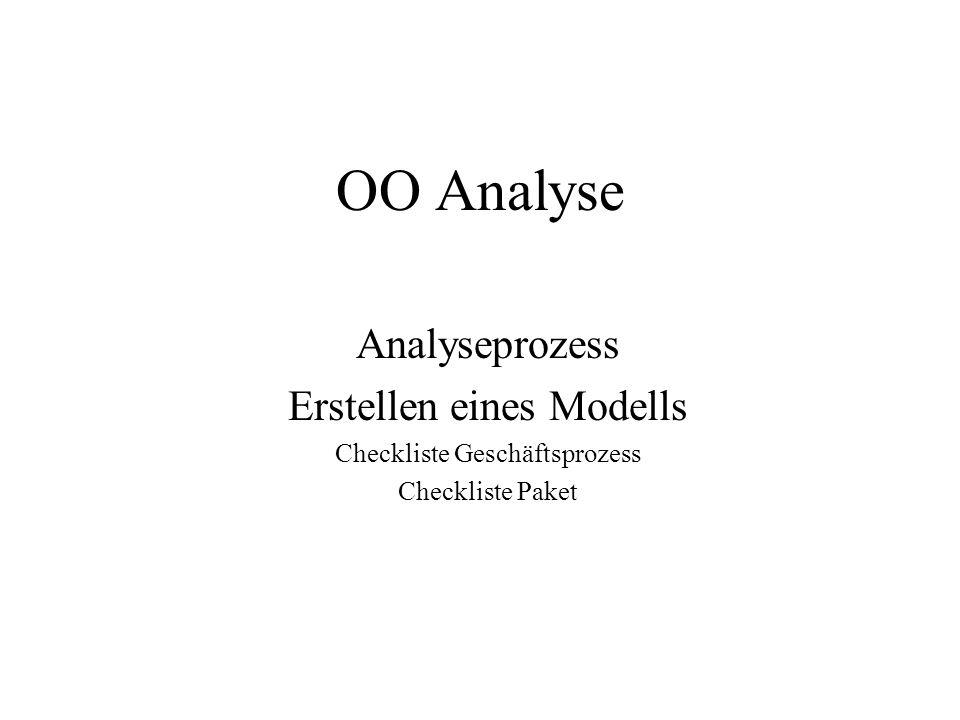 OO Analyse Analyseprozess Erstellen eines Modells Checkliste Geschäftsprozess Checkliste Paket