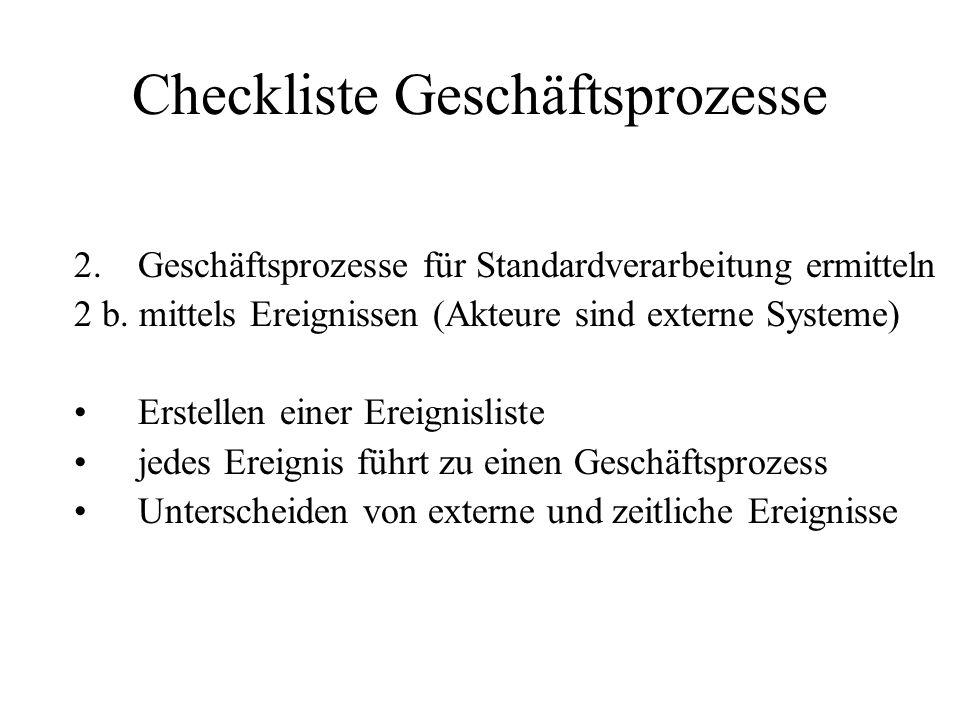 Checkliste Geschäftsprozesse 2.Geschäftsprozesse für Standardverarbeitung ermitteln 2 b. mittels Ereignissen (Akteure sind externe Systeme) Erstellen