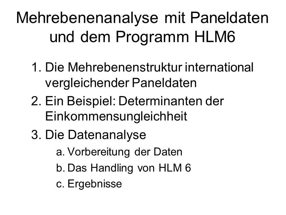 Mehrebenenanalyse mit Paneldaten und dem Programm HLM6 1.Die Mehrebenenstruktur international vergleichender Paneldaten 2.Ein Beispiel: Determinanten