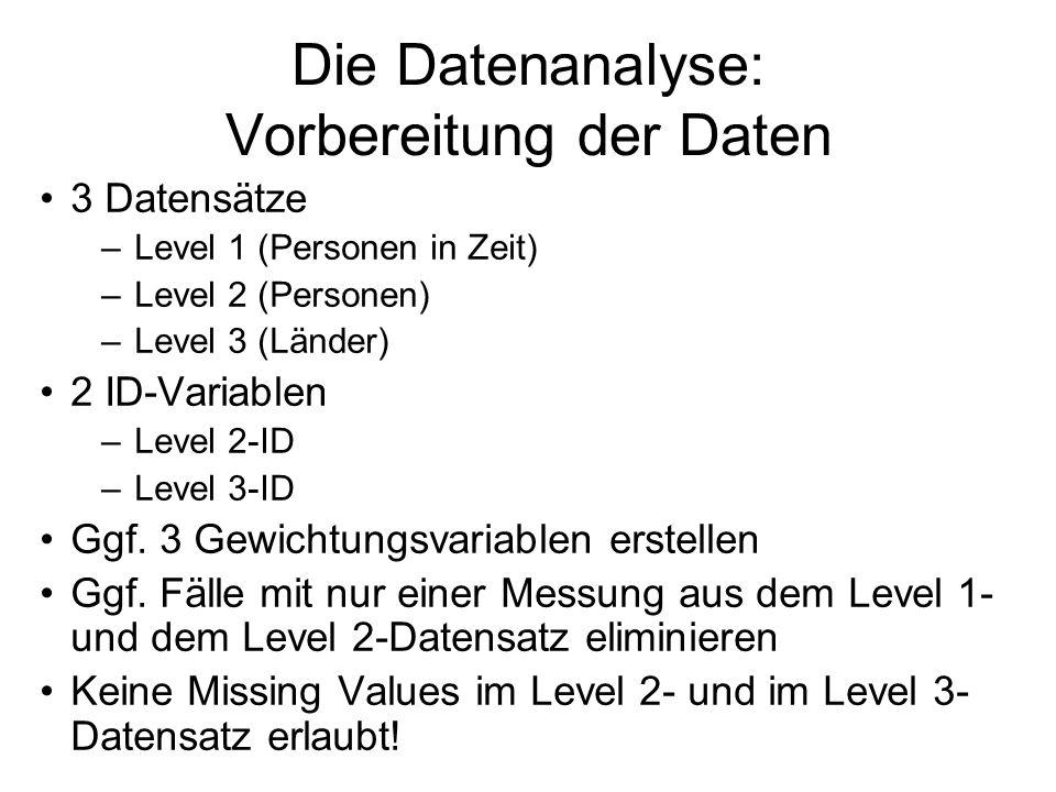 Die Datenanalyse: Vorbereitung der Daten 3 Datensätze –Level 1 (Personen in Zeit) –Level 2 (Personen) –Level 3 (Länder) 2 ID-Variablen –Level 2-ID –Le
