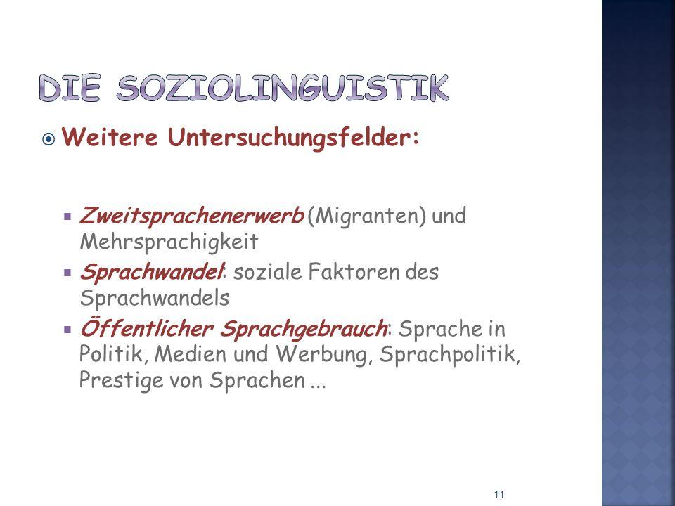 Weitere Untersuchungsfelder: Zweitsprachenerwerb (Migranten) und Mehrsprachigkeit Sprachwandel: soziale Faktoren des Sprachwandels Öffentlicher Sprach