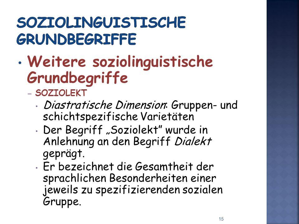 Weitere soziolinguistische Grundbegriffe – SOZIOLEKT Diastratische Dimension: Gruppen- und schichtspezifische Varietäten Der Begriff Soziolekt wurde in Anlehnung an den Begriff Dialekt geprägt.
