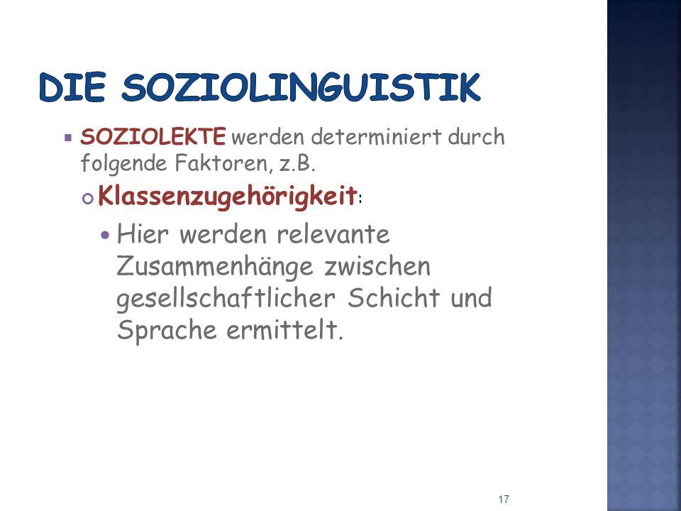 SOZIOLEKTE werden determiniert durch folgende Faktoren, z.B.