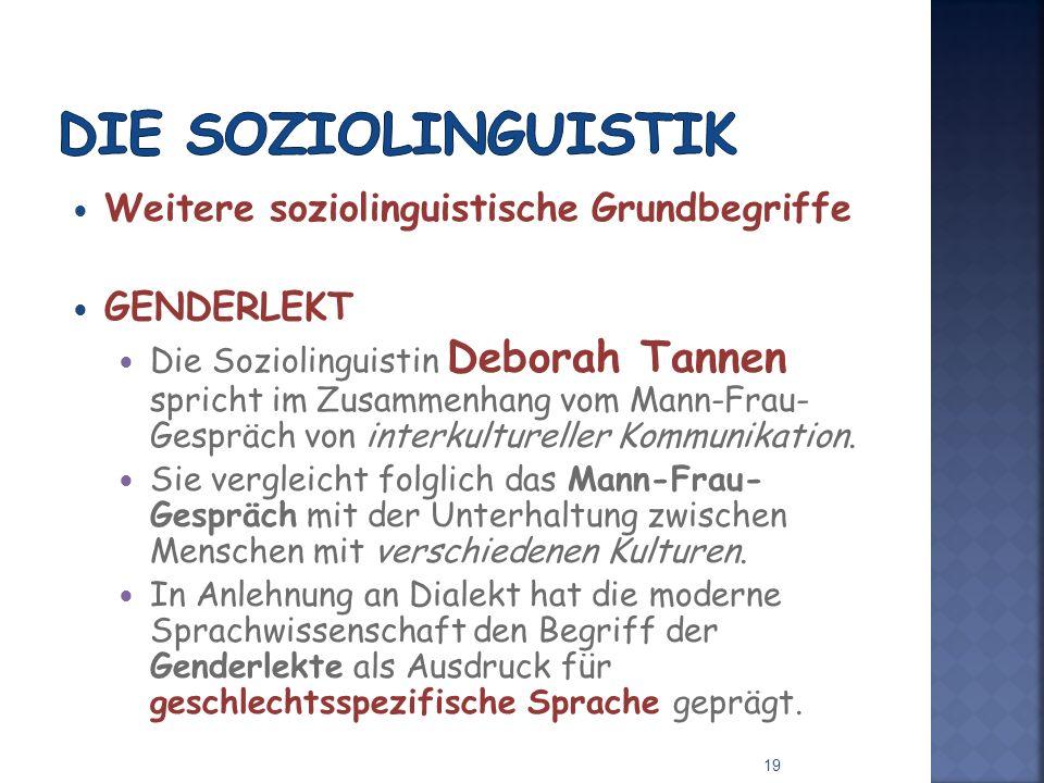 Weitere soziolinguistische Grundbegriffe GENDERLEKT Die Soziolinguistin Deborah Tannen spricht im Zusammenhang vom Mann-Frau- Gespräch von interkultureller Kommunikation.