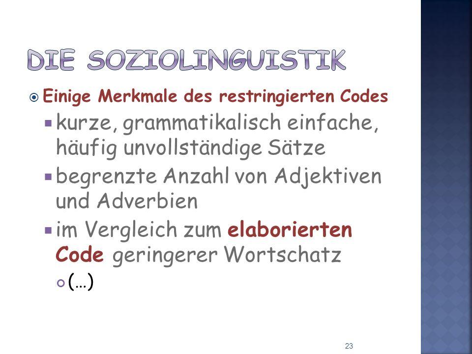 Einige Merkmale des restringierten Codes kurze, grammatikalisch einfache, häufig unvollständige Sätze begrenzte Anzahl von Adjektiven und Adverbien im Vergleich zum elaborierten Code geringerer Wortschatz (…) 23