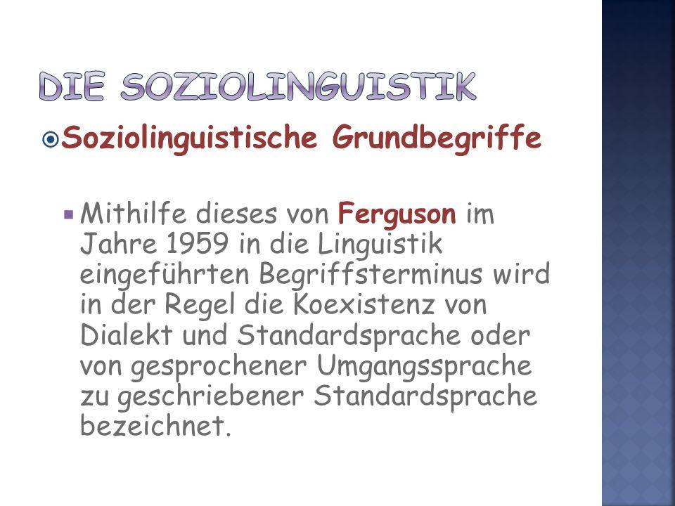 Soziolinguistische Grundbegriffe Mithilfe dieses von Ferguson im Jahre 1959 in die Linguistik eingeführten Begriffsterminus wird in der Regel die Koexistenz von Dialekt und Standardsprache oder von gesprochener Umgangssprache zu geschriebener Standardsprache bezeichnet.