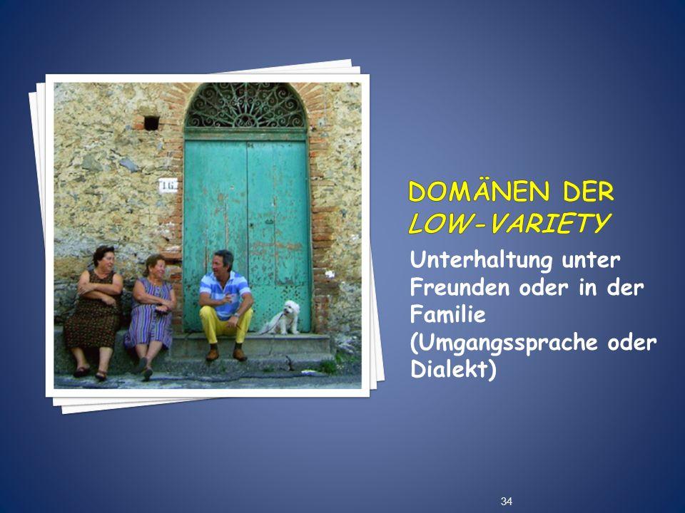 Unterhaltung unter Freunden oder in der Familie (Umgangssprache oder Dialekt) 34