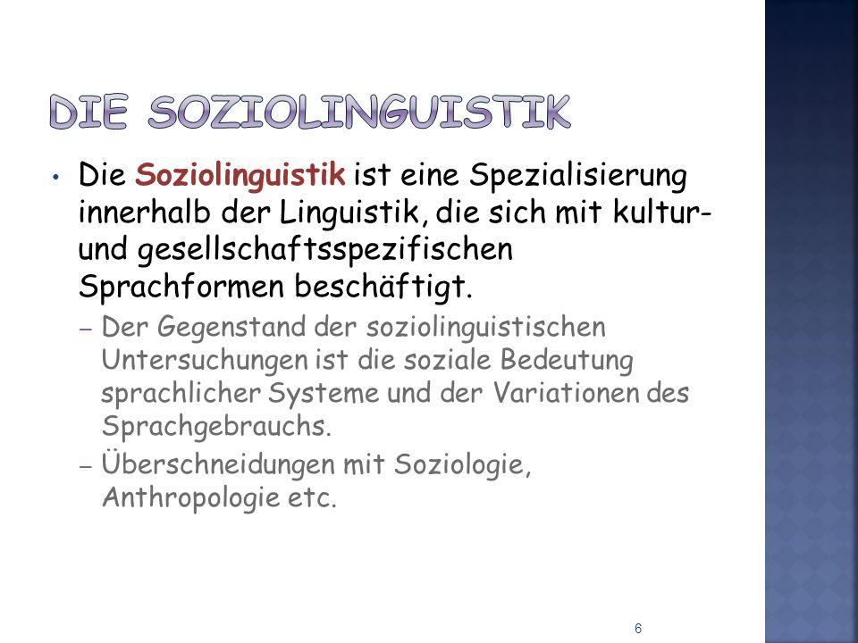 Die Soziolinguistik ist eine Spezialisierung innerhalb der Linguistik, die sich mit kultur- und gesellschaftsspezifischen Sprachformen beschäftigt. –