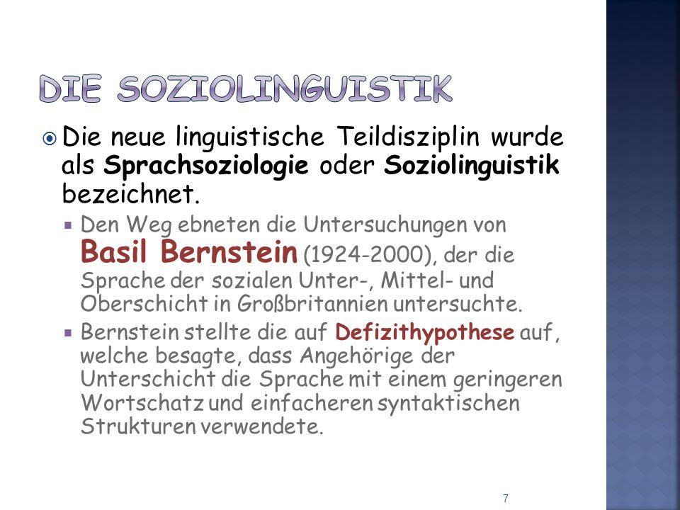 Die neue linguistische Teildisziplin wurde als Sprachsoziologie oder Soziolinguistik bezeichnet. Den Weg ebneten die Untersuchungen von Basil Bernstei